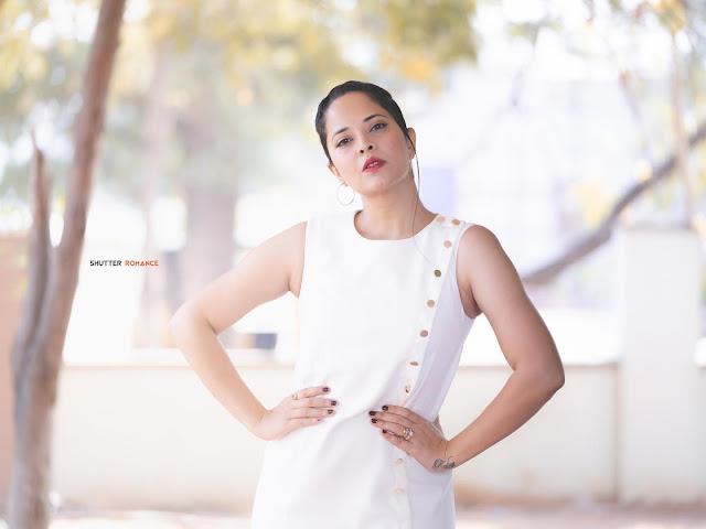 Anasuya Bharadwaj Latest Photoshoot in Sexy White Dress Navel Queens