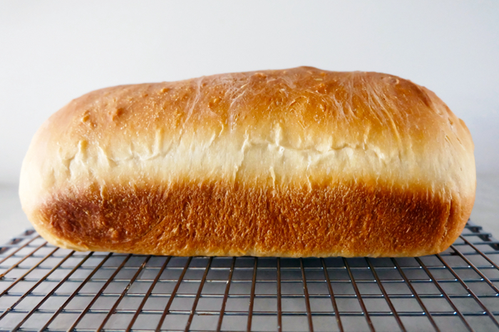 side view of baked bread loaf