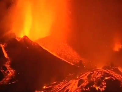 Vulkanausbruch La Palma, am Cumbre Vieja ist ein Vulkan ausgebrochen
