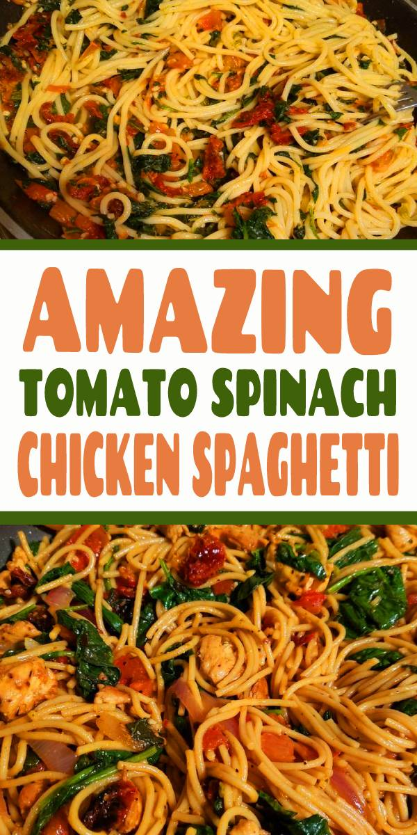 Supercharge your spaghetti with this amazing twist on the original! One bite of this Tomato Spinach Chicken Spaghetti and you will never buy jarred tomato sauce ever again. Spaghetti is tossed in a fresh and flavorful sauce with pieces of juicy chicken. Fresh spinach adds a boost of nutrients, but feel free to use other vegetables to customize to your family's liking. #spaghetti #chicken #chickenspaghetti