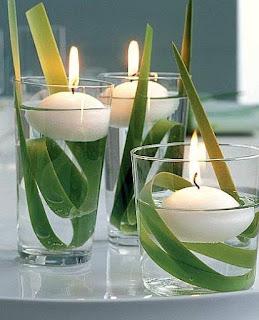 candele sospese con elementi naturali