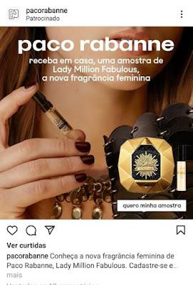 Amostra Grátis Perfume Lady Million Fabulous e 1 Million Paco Rabanne