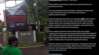 Baliho 6 Syuhada FPl Masjid Jogokariyan Dicopot Aparat, Netizen: Baper Amat Ini Negara