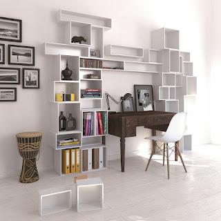 White Cubit Shelving Surrounding Traditional Brown Wooden Desk Interior Design