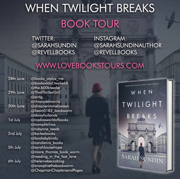 When Twilight Breaks by Sarah Sundin book review tour poster