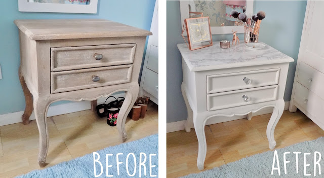 How to make a marble topped table before and after