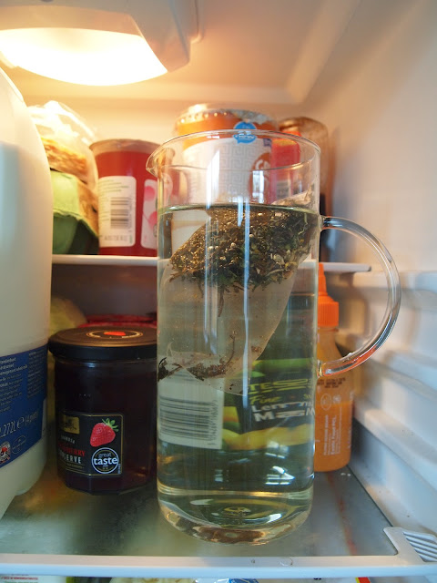 Iced Tea Pitcher in the fridge