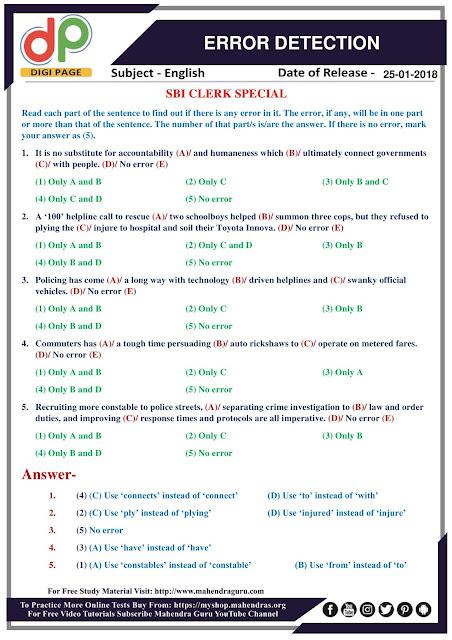 DP | Error Detection Questions For SBI Clerk Prelims | 25 - 01 - 18