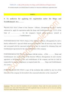 board resolution for shop and establishment registration