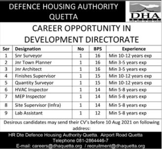 JOBS | Defence Housing Authority Quetta