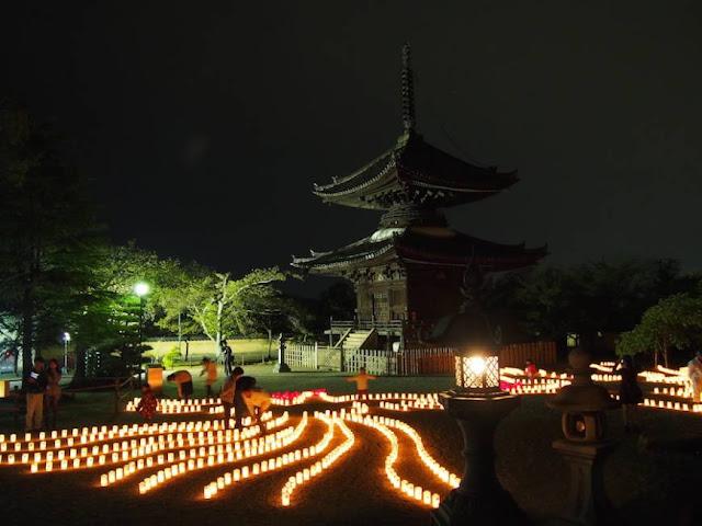 Taishi Shotoe festival of lights, at Eifukuji Temple, Saihoin Temple and Taishi Nagomi Park in Taishi, Osaka