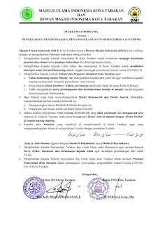 Maklumat Bersama MUI dan DMI Kota Tarakan Tentang COVID-19 - Kajian Islam Tarakan