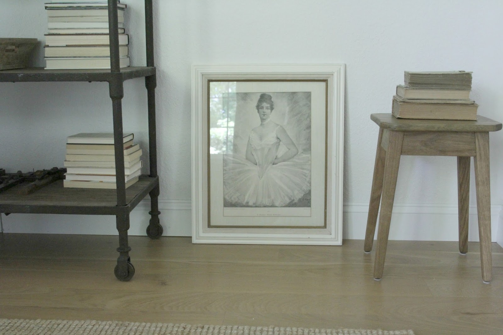 Ballerina etching and rustic shelves in dining room with white oak floor. Hello Lovely Studio. Time to Paint Your Walls? Come discover a Refresher to Demystify the Process!