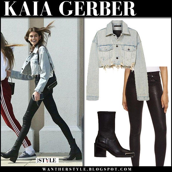 Kaia Gerber in denim cropped jacket alexander wang and black skinny pants street fashion march 19