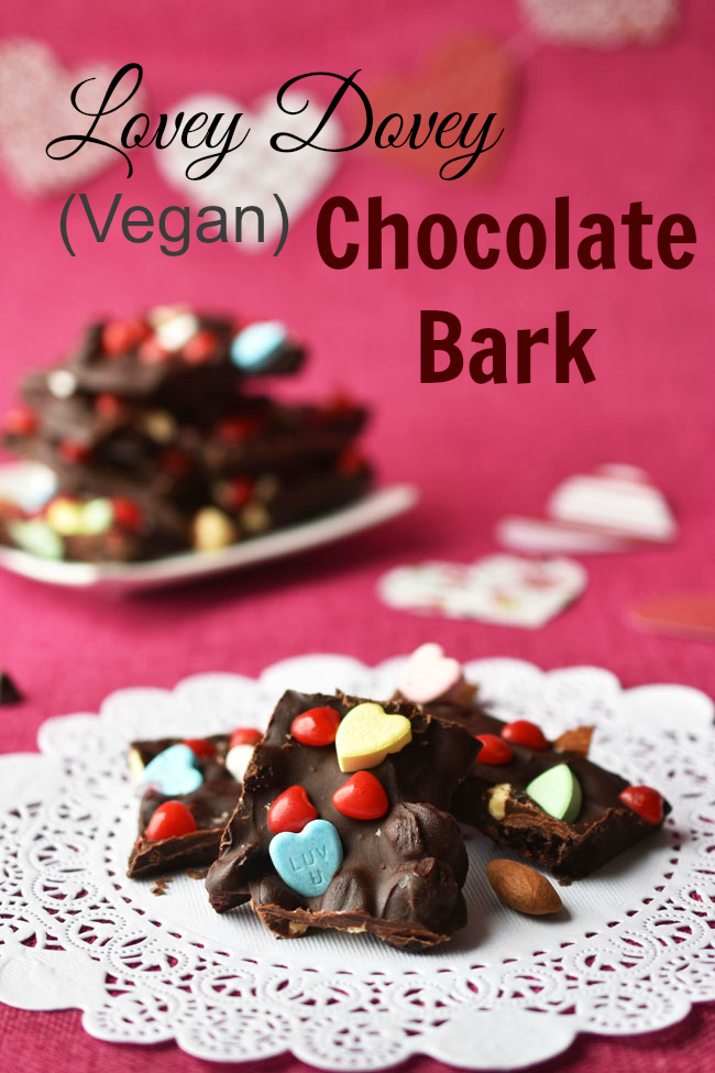 So you don't have to slave away on Valentine's Day, this Lovey Dovey Vegan Chocolate Bark is super easy and quick to make.