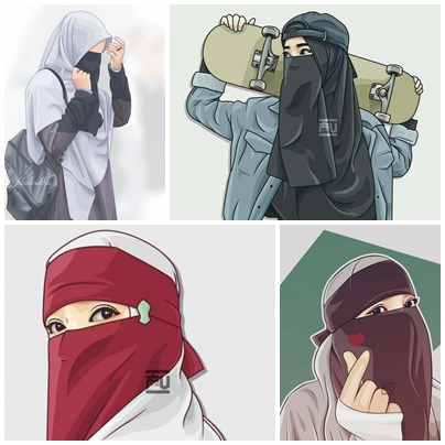 gambar kartun muslimah keren lucu sedih berkacamata