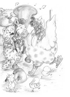 Kinderbuchillustration, Bleistift, Tiere, lustig
