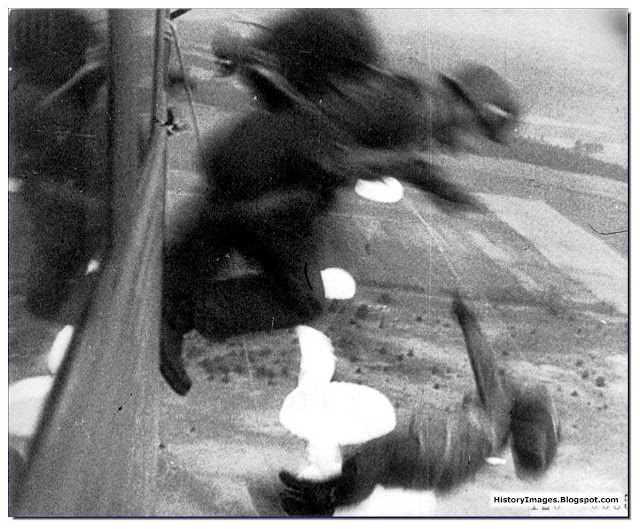 German paratroopers jumping  Netherlands  Ju 52 plane May 1 1940
