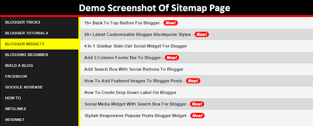 Stylish HTML Sitemap for Blogger Pages