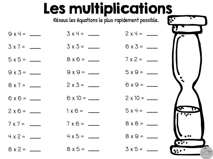 Tables de multiplications exercices table de lit - Exercice tables de multiplication ...