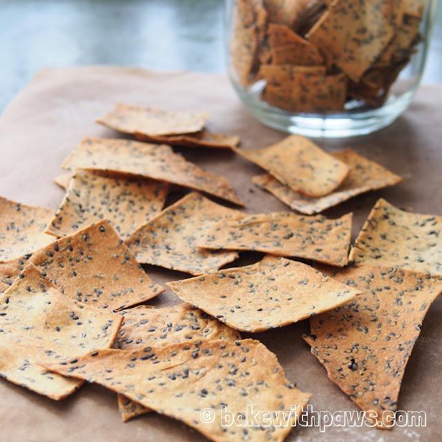 Sesame Sourdough Crackers