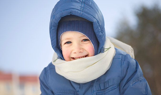 Child wearing winter clothes