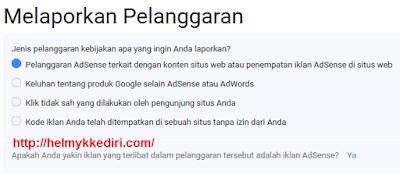 Melaporkan Iklan Google Adsense Yang Melanggar1