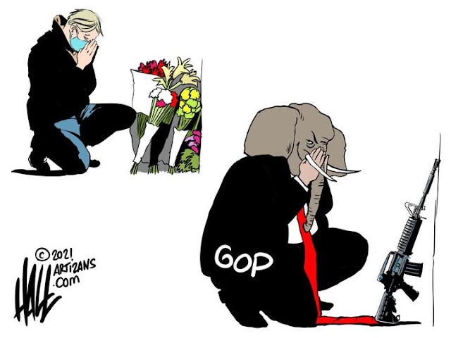 Image One:  Grieving man kneeling in prayer at the flower-covered grave of a loved one.  Image Two:  Republican Elephant kneeling in prayer before an assault rifle.