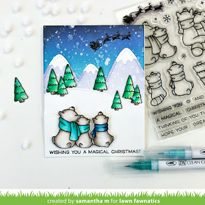 Wishing You a Magical Christmas Card by Samantha Mann, Lawn Fawn, Lawn Fawnatics Challenge, Ink Blending, Distress Inks, Christmas, Cards, Card making, #lawnfawn #lawnfawnatics #christmascard #cards #distressinks #inkblending