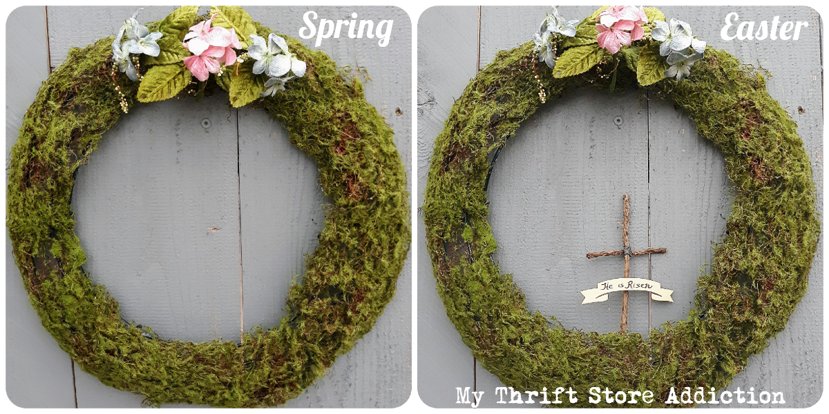 DIY mossy wreath for spring and Easter
