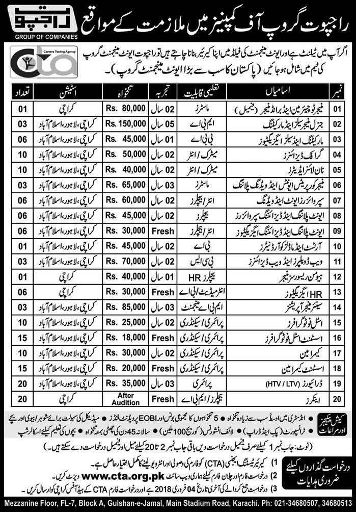 Jobs In Rajput Group Of Companies Jan 2018