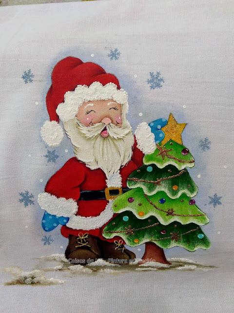 papai noel com árvore de natal pintura natalina