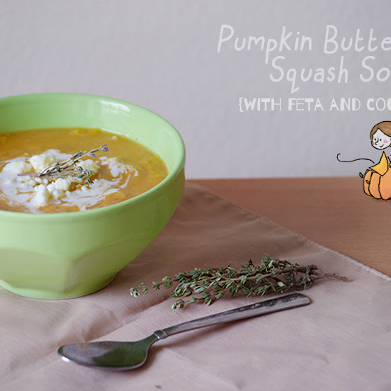 Pumpkin Butternut Squash Soup with Feta and Coconut