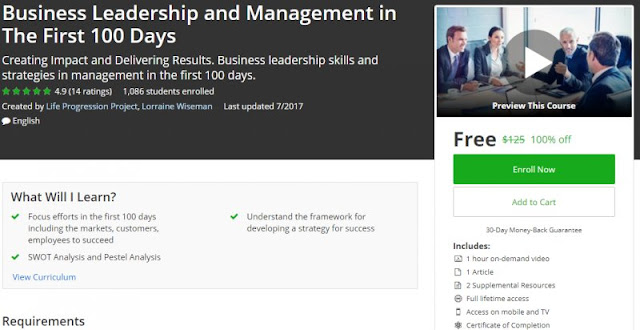 [100% Off] Business Leadership and Management in The First 100 Days| Worth 125$