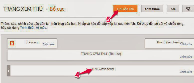 Thêm thành phần tiện ích cho khung Blogspot