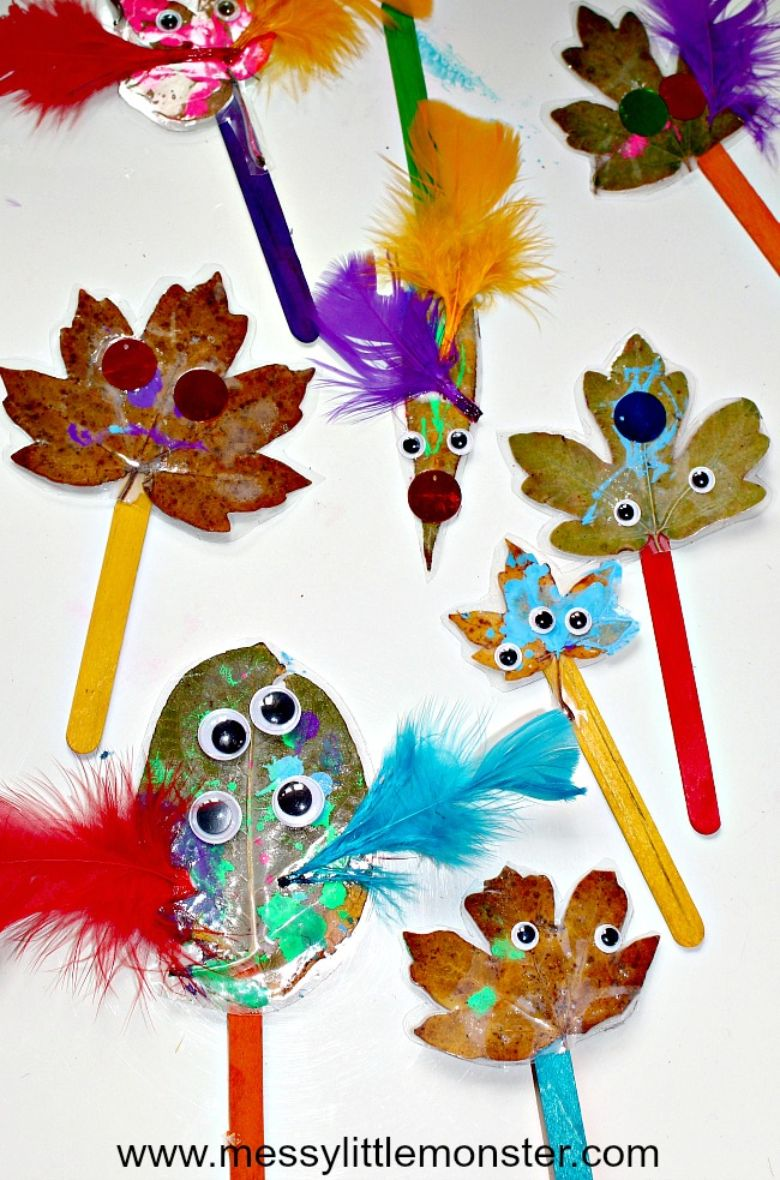 monster leaf puppet autumn craft for kids
