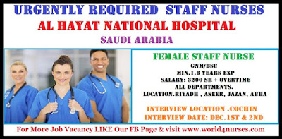 Urgently Required  Staff Nurses for AL HAYAT NATIONAL HOSPITAL Saudi Arabia