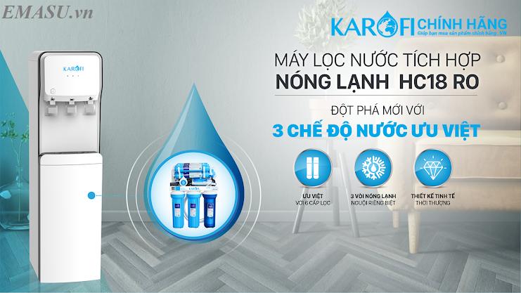 Cây nước nóng lạnh Karofi HC18-RO, vừa lọc vừa làm nóng lạnh nước, uống trực tiếp
