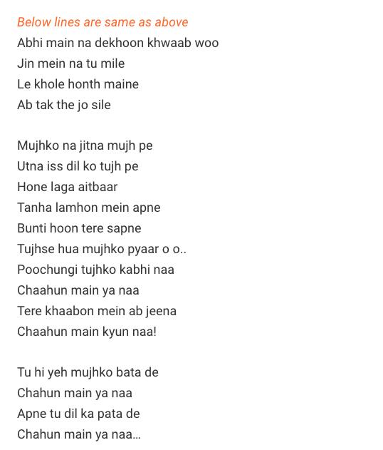 Chahun Main Ya Na Tabs / Aashiqui 2 / Chahun Main Ya Na Guitar Tabs / Chahun Main Ya Na Lead Notes / Hindi Songs Tabs /Arijit Singh, Palak Muchhal / Aashiqui 2 Love Song Bollywood / Aashiqui 2 Movie / Gaane