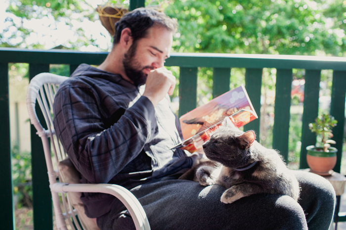 ben and his cat reading