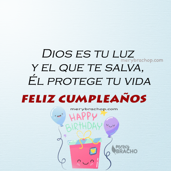 imagen con frases religiosas cortas en cumpleaños tarjeta azul con globos saludos cristianos