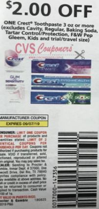 "$2/1 Crest Toothpaste Coupon from ""P&G"" insert week of 8/25 ""limit 2""."