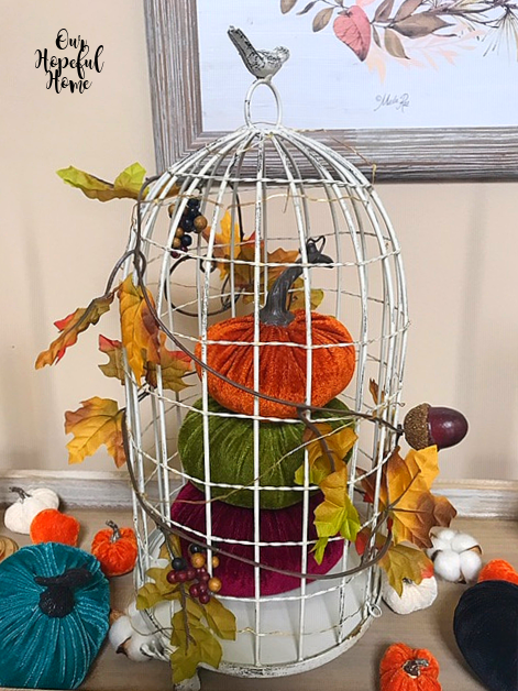 bird cage pumpkins leaf garland fall decor