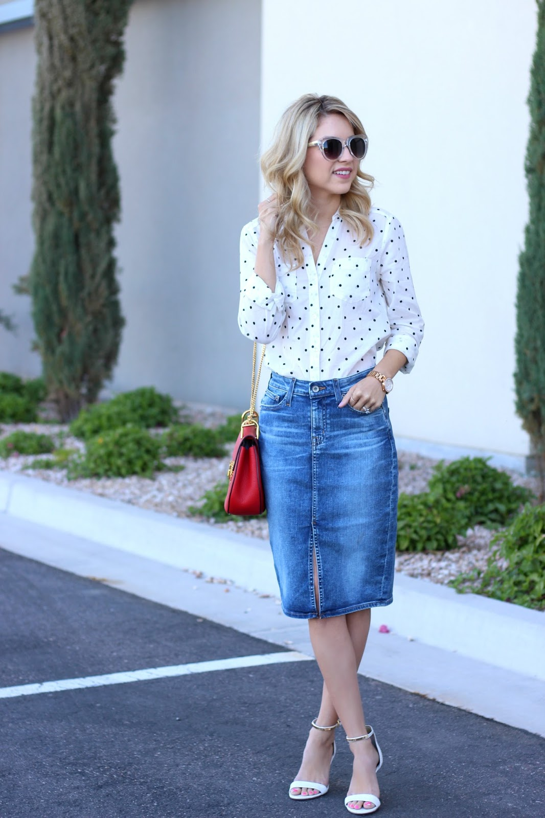 Long Jeans Skirt Outfit