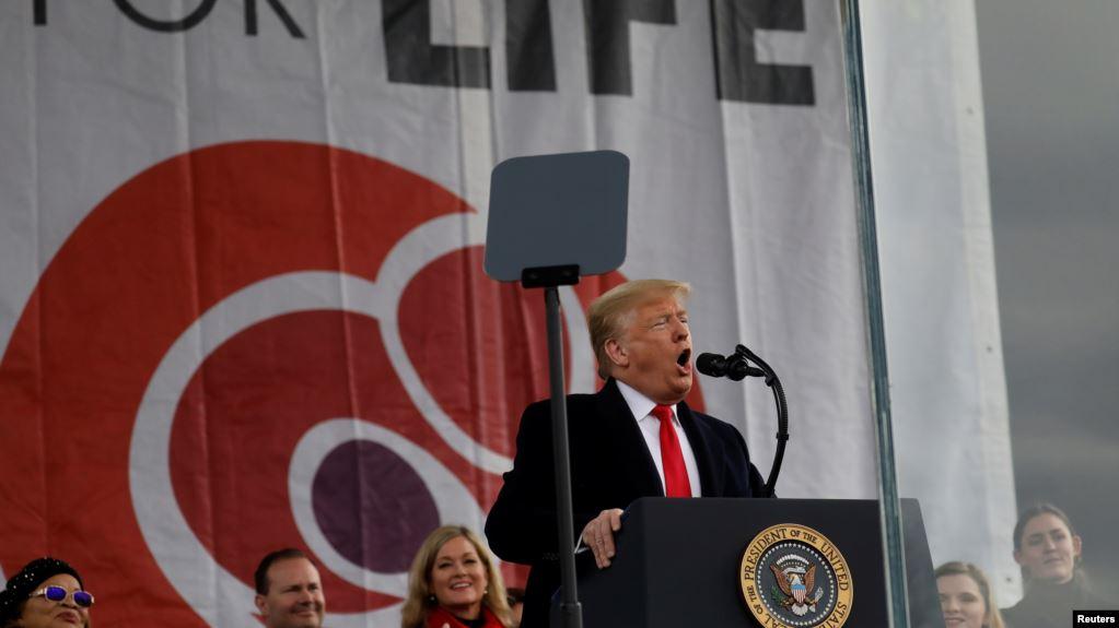El presidente de Estados Unidos, Donald Trump, se dirige a la 47ª Marcha anual por la Vida en Washington, EE.UU., el 24 de enero de 2020 / REUTERS