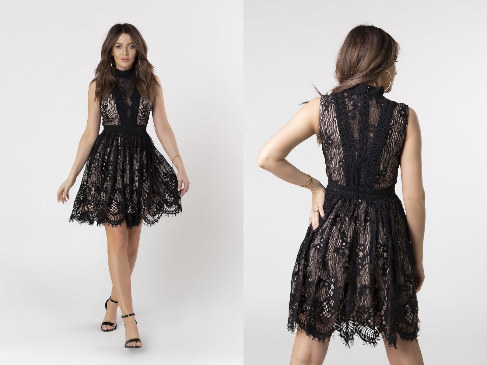 Koronkowa sukienka z rozkloszowanym dołem ptakmoda.com
