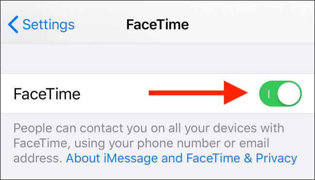 انقر فوق تبديل FaceTime لتعطيل FaceTime على جهاز iPhone أو iPad