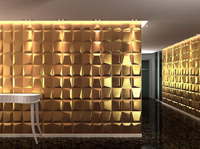 3d wall mosaic designs with aluminum wall panel art in gold color