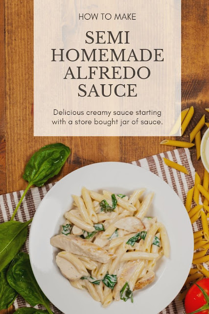 How to make a semi homemade Alfredo sauce recipe. This easy recipe starts with store bought jar of sauce and is made with cream cheese and with half and half, milk, or heavy cream. This takes a basic jar of sauce and turns it into a quick thick and creamy home made sauce. Use for fettuccine or other pasta for simple dinner ideas. This is the best DIY recipe for an almost homemade Alfredo sauce. #alfredo #semihomemade #recipe