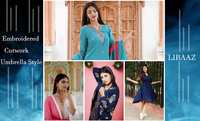 Libaaz has the collections which are fluid, always changing to ensure individuality and brimming with vibrant rich colours and embroidery pat terns that are extensively sampled to perfection before being used in the outfits.